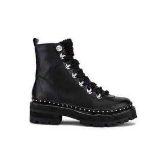 Steve Madden Rainer Black Leather Stud Boots 6.5
